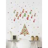 Интерьерные наклейки 'Новогодние украшения' 34х64 см красный