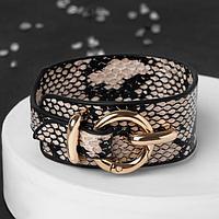 Браслет кожа 'Сафари' змея, цвет бежево-чёрный ,L17,5см
