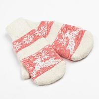 Варежки женские шерстяные 'Олень со снежинкой', цвет белый/красный, размер 20-22