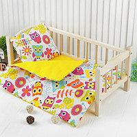 Постельное бельё для кукол 'Совы', простынь, одеяло, подушка
