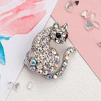 Брошь 'Дикая кошка', цвет радужно-чёрный в серебре