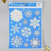 Декоративная наклейка с блёстками Room Decor 'Снежинки' 29х41 см