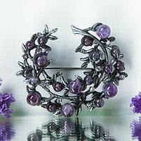 Брошь 'Ветвь аметиста', цвет фиолетовый в чернёном серебре