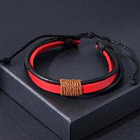 Браслет унисекс 'Сила' плетение, цвет красно-чёрный, d7 см