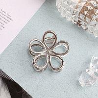 Краб для волос 'Либерти' цветок 4 см, матовое серебро (комплект из 6 шт.)