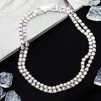 Браслет со стразами 'Лёд' элегантность, 2 ряда, цвет радужный в серебре, 18см