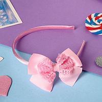 Ободок для волос 'Камалия' классика, 9х5 см, розовый