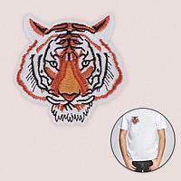 Термоаппликация 'Мордашка тигра', 9,2 x 8,9 см, цвет оранжевый (комплект из 5 шт.)