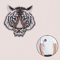 Термоаппликация 'Мордашка тигра', 9,2 x 8,9 см, цвет бело-серый (комплект из 5 шт.)