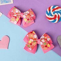Зажим для волос 'Бантик Клер' (набор 2 шт) фруктики, 4,5 см, розовый
