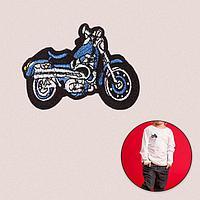 Термоаппликация 'Мотоцикл', 8 x 6 см, цвет синий