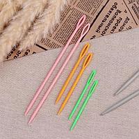 Набор игл для сшивания пряжи/шерсти, d 2,05/3,05 мм, 7/9/15 см, 6 шт, цвет разноцветный