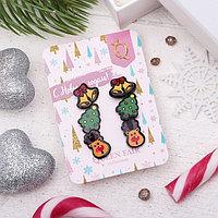 Пусеты 3 пары 'Новогодние' олень, ёлка, колокольчик, цветные
