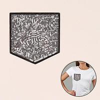 Термоаппликация 'Карман', с пайетками, 11 x 10,5 см, цвет серебряный/чёрный (комплект из 5 шт.)