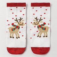 Носки детские 'Новогодний олень', цвет белый, размер 20-22