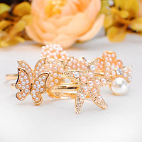 Кольцо детское 'Ассорти жемчужное' безразмерное, форма МИКС, цвет белый в золоте (комплект из 100 шт.)