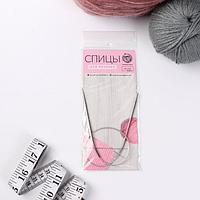 Спицы для вязания, круговые, с металлическим тросом, d 2,5 мм, 10/40 см