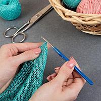 Крючок для вязания, с пластиковой ручкой, d 3 мм, 13,5 см, цвет синий (комплект из 10 шт.)
