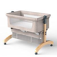 Кроватка мобильная на колёсиках прикроватная с маятниковым качанием, складная.СЕРАЯ