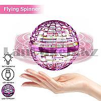 Летающий спиннер шар бумеранг с led подсветкой и usb зарядкой Flying Spinner розовый
