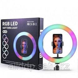 Кольцевая разноцветная селфи-лампа Led MJ33 RGB 6 цветов с держателем диаметром 33 см