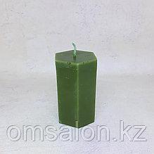 Свеча восковая, граненая (зеленая)