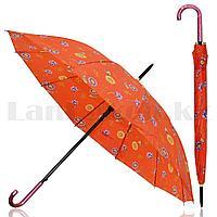 Зонт полуавтомат с цветами красный