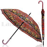 Зонт полуавтомат клетчатый с цветами темно-красный