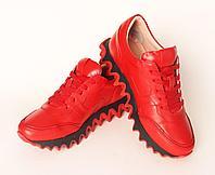 Кроссовки женские кожаные, красные
