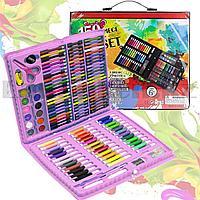 Набор для рисования Art Set 150 piece фломастеры мелки карандаши краски розовый