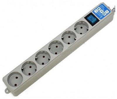 Сетевой фильтр Power Cube Pro 1.9м, SPL(5+1)-16B-P-1.9M 6 розеток 16A/3.5кВт LC filter Серый