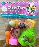 892-320 Girls toy play Набор чаепитиес круассаном в пакете 22*17см