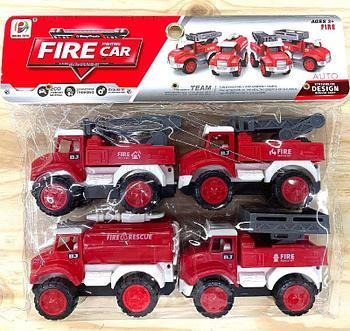 BJ655A Fire Car Пожарная спец машина 4в1 в пакете 22*24см