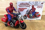 3189B Спайдермен на мотоцикле на батарейках, муз свет движение 20*17см, фото 2