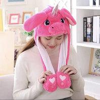 Шапка меховая с хлоп-ушками и разноцветной подсветкой (Розовый единорог)