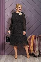 Женское осеннее шифоновое черное нарядное большого размера платье Alani Collection 1505 черный 52р.