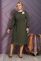 Женское осеннее шифоновое зеленое нарядное большого размера платье Alani Collection 1505 хаки 52р.