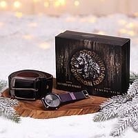 Мужской подарочный набор 'С Новым годом!', наручные часы и ремень (122х3,7 см)
