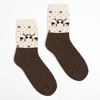 Носки женские шерстяные, цвет шоколад/олени, размер 23 (35-37)