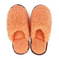 Тапочки женские из овчины, закрытый нос, цвет оранжевый, размер 36-38