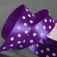 Лента атласная 'Горох', 25 мм x 23 ± 1 м, цвет фиолетовый 154