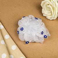 Бант для девочек с резинкой 'Жемчужный цветок', с синем цветочным декором 16 см (комплект из 30 шт.)