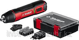 Отвертка аккумуляторная 3.6 В, в кейсе с набором 33 бит, ЗУБР ЗО-4 КН33