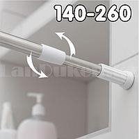 Карниз для ванной комнаты телескопический алюминиевый 140х260 см хромированный