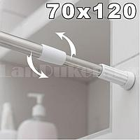 Карниз для ванной комнаты телескопический алюминиевый 70х120 см хромированный