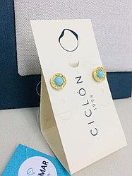Серьги - пусеты с муранским стеклом / Ciclon