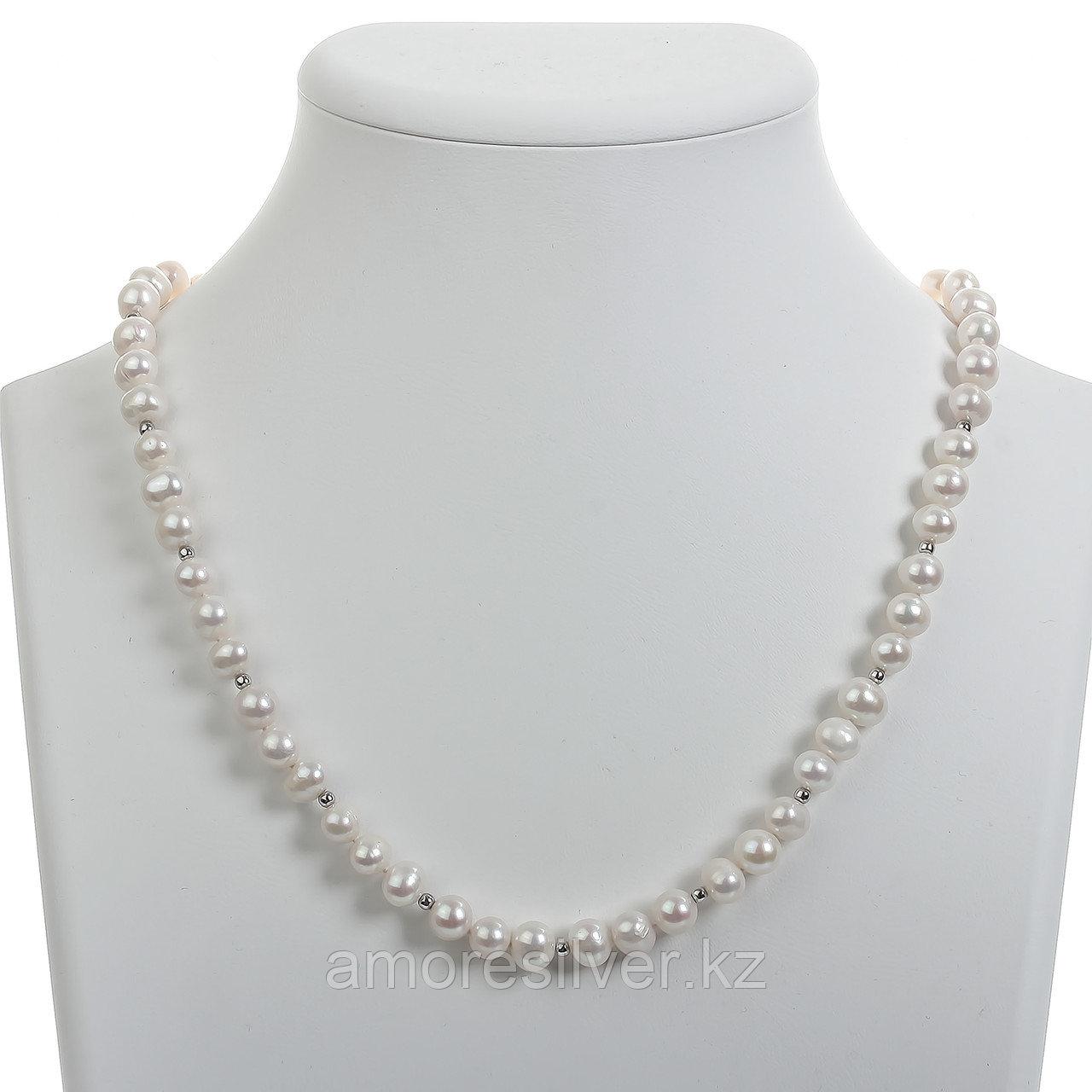 Бусы  серебро без покрытия, бисер жемчуг культ. 07T-f3-d9-S-50cm размеры - 50