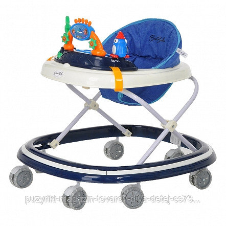 BAMBOLA Ходунки ОАЗИС (7 силик.колес,игрушки,муз) 6 шт в кор.(64*56*52) DEEP BLUE Синий