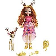 Enchantimals Royal Кукла Энчантималс Роял Королева Олень Давиана и питомец Грасси, 20 см