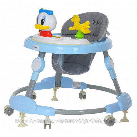 BAMBOLA Ходунки УТЕНОК (круглые) (6 силик.колес,игрушки,муз) 6 шт в кор.(69*69*55) BLUE Голубой